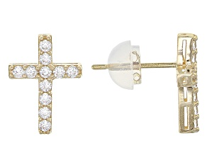 White Cubic Zirconia 10k Yg Cross Earrings .51ctw