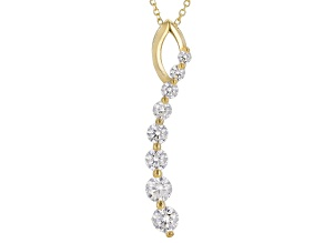 White Cubic Zirconia 10k Yg Pendant With Chain 1.19ctw