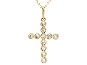 White Cubic Zirconia 10k Yellow Gold Pendant With Chain .44ctw
