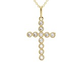 White Cubic Zirconia 10k Yellow Gold Cross Pendant With Chain .44ctw
