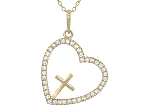 White Cubic Zirconia 10k Yg Heart/Cross Pendant With Chain .36ctw