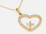 White Cubic Zirconia 10k Yellow Gold Heart/Cross Pendant With Chain .36ctw