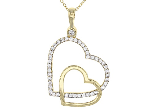 White Cubic Zirconia 10k Yg Pendant With Chain 0.43ctw