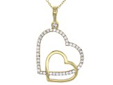 White Cubic Zirconia 10k Yg Heart Pendant With Chain 0.43ctw