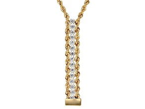 White Cubic Zirconia 10k Yellow Gold Necklace 1.50ctw