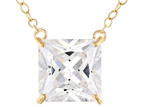 White Cubic Zirconia 10k Yellow Gold Necklace 5.00ctw