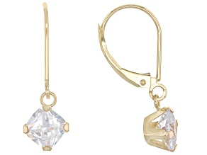 White Cubic Zirconia 10k Yellow Gold Earrings 2.50ctw