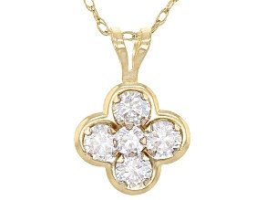 White Cubic Zirconia 10k Yellow Gold Pendant With Chain 0.64ctw