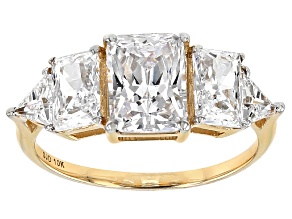 White Cubic Zirconia 10k Yellow Gold Ring 5.24ctw