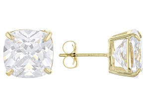 White Cubic Zirconia 10k Yellow Gold Earrings 7.60ctw