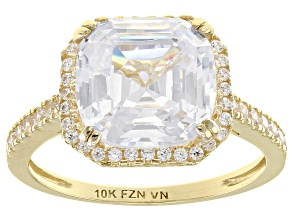 White Cubic Zirconia 10k Yellow Gold Ring 8.23ctw