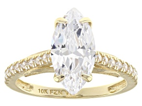 White Cubic Zirconia 10k Yellow Gold Ring 4.62ctw