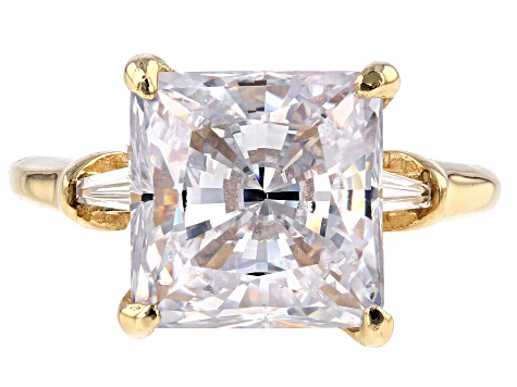 White Cubic Zirconia 10k Yellow Gold Ring 9.38ctw