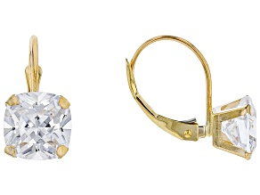 White Cubic Zirconia 10k Yellow Gold Earrings 5.65ctw