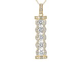 White Cubic Zirconia 10k Yellow Gold Pendant With Chain 2.60ctw