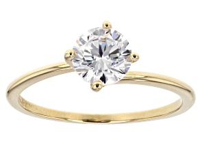 White Cubic Zirconia 10k Yellow Gold Ring 1.43ctw