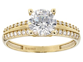 White Cubic Zirconia 10k Yellow Gold Ring 2.45ctw