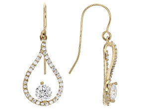 white cubic zirconia 10k yg earrings 1.47ctw