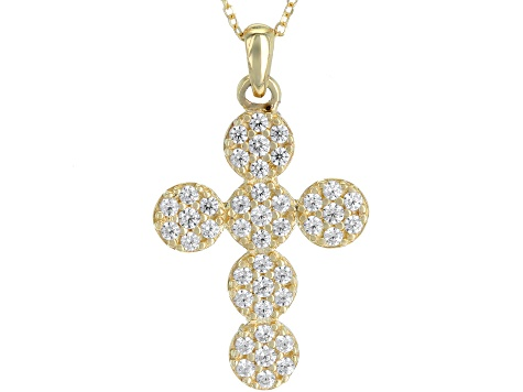 White Cubic Zirconia 10k YG Cross Pendant With Chain 0.84ctw