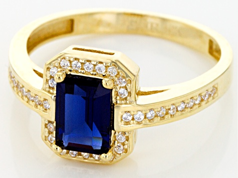 Lab Created Blue Spinel and White Cubic Zirconia 10k Yg Ring 2.13ctw
