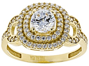 White Cubic Zirconia 10k Yellow Gold Ring 1.50ctw