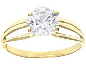 white cubic zirconia 10k yg ring 2.17ctw