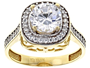white cubic zirconia 10k yg and wg ring 2.55ctw
