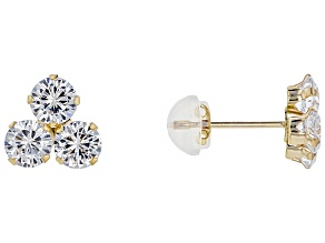 White Cubic Zirconia 10k Yellow Gold Earrings 2.58ctw
