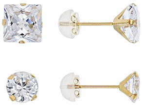 White Cubic Zirconia 10k Yellow Gold Earrings 9.52ctw