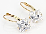 White Cubic Zirconia 10k Yellow Gold Earrings 6.60ctw
