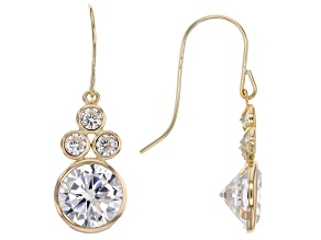 White Cubic Zirconia 10k Yellow Gold Earrings 8.00ctw