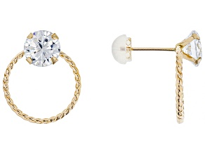 White Cubic Zirconia 10k Yellow Gold Earrings 3.16ctw