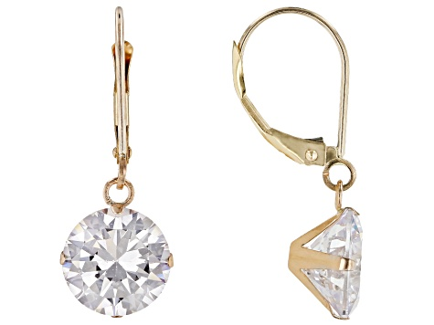 White Cubic Zirconia 10K Yellow Gold Dangle Earrings 9.25ctw