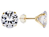 White Cubic Zirconia 10K Yellow Gold Stud Earrings 9.25ctw