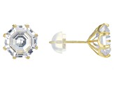 White Cubic Zirconia 10K Yellow Gold Stud Earrings 7.00ctw