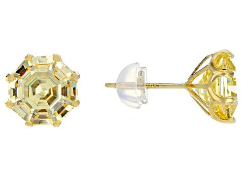 Yellow Cubic Zirconia 10k Gold Stud Earrings 7 00ctw