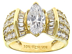 White Cubic Zirconia 10K Yellow Gold Center Design Ring 3.69ctw