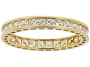 White Cubic Zirconia 10K Yellow Gold Eternity Band Ring 1.86ctw