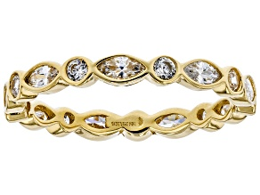 White Cubic Zirconia 10K Yellow Gold Band Ring 1.89ctw