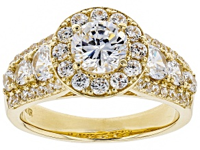 White Cubic Zirconia 10K Yellow Gold Center Design Ring 4.30ctw