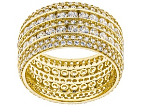 White Cubic Zirconia 10k Yellow Gold Ring 5.64ctw
