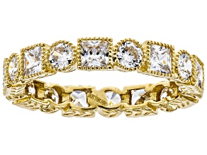 White Cubic Zirconia 10K Yellow Gold Band Ring 4.32ctw