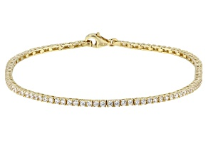 White Cubic Zirconia 10K Yellow Gold Tennis Bracelet 3.18ctw