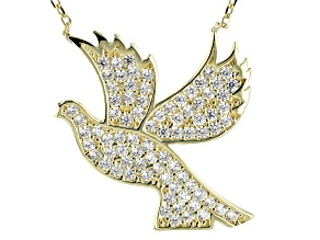 White Cubic Zirconia 10K Yellow Gold Dove Necklace 0.78ctw