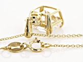 White Cubic Zirconia 10K Yellow Gold Asscher Cut Pendant With Chain 4.54ctw