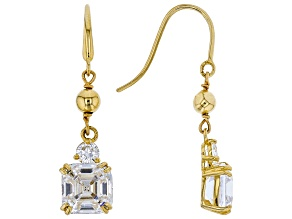White Cubic Zirconia 10K Yellow Gold asscher cut Earrings 3.70ctw
