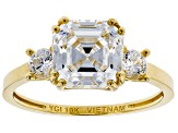 White Cubic Zirconia 10K Yellow Gold Asscher Cut and Round Ring 4.83ctw