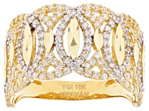 White Cubic Zirconia 10k Yellow Gold Band Ring 1.53ctw