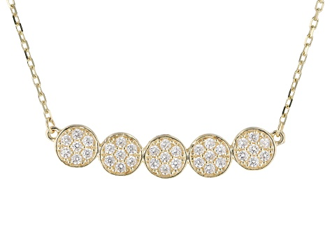 White Cubic Zirconia 10k Yellow Gold Necklace 0.70ctw