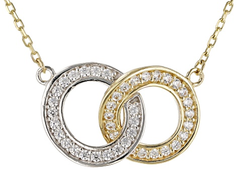 White Cubic Zirconia 10k Yellow Gold Necklace 0.50ctw
